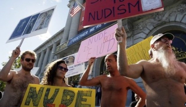Protesters disrobed in front of san francisco city hall in protest last week