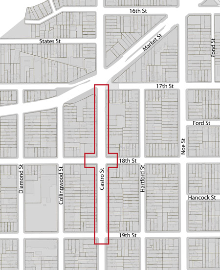 Castro street design project boundary map