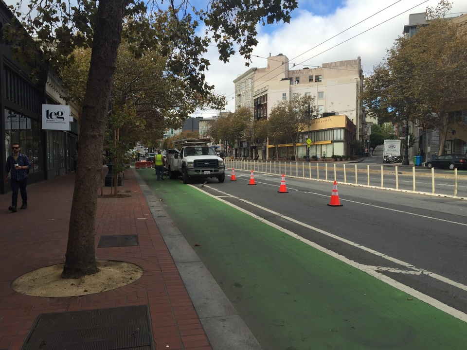 Construction Begins On Raised Market Street Bike Lane, The ...