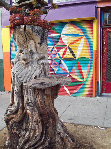Amazon Part Time Job: Crafty Lower Haight Tree Stump Felled By Bad Parking Job