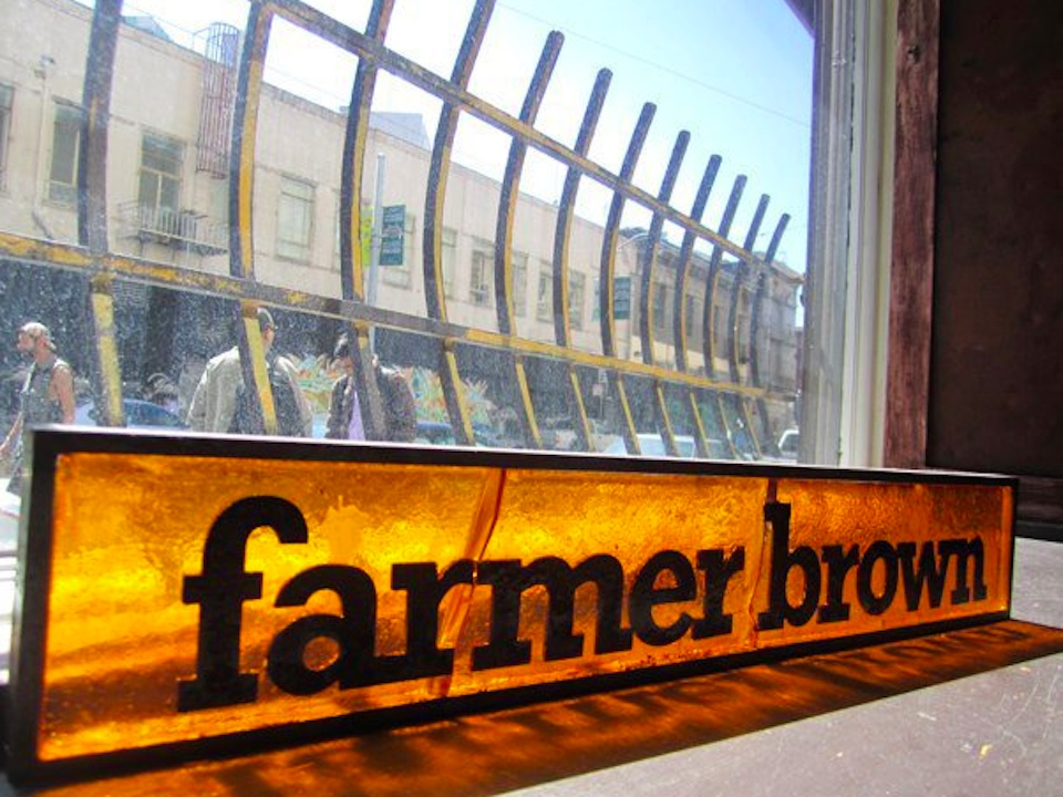 Farmerbrown sign with tl background