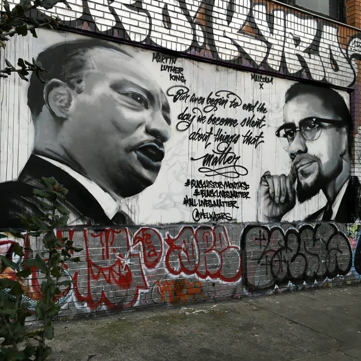 Muralist mel waters pays tribute to prince gandhi and for Malcolm x mural