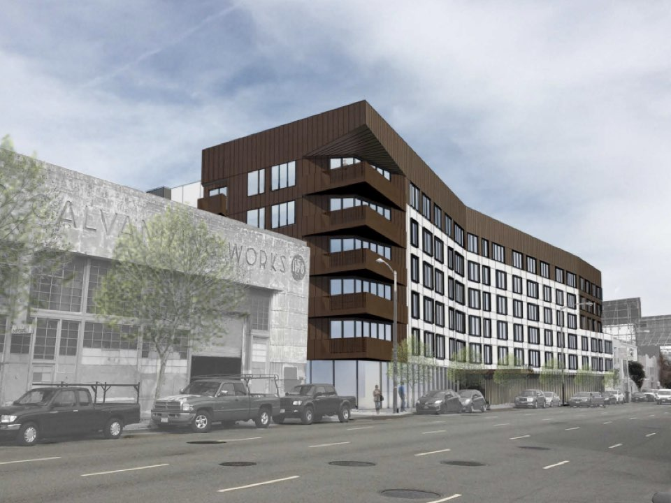 381 market rate units proposed for 7th harrison auto for German motors collision center marin street