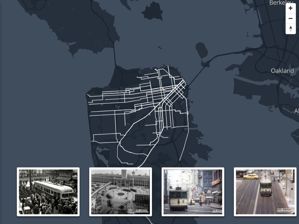 Trams San Francisco Map.New Interactive Map Shows Historic Streetcar Routes Of San