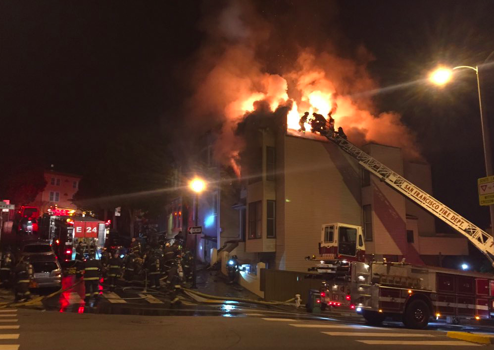 3 firefighters injured in 4-alarm fire in San Francisco