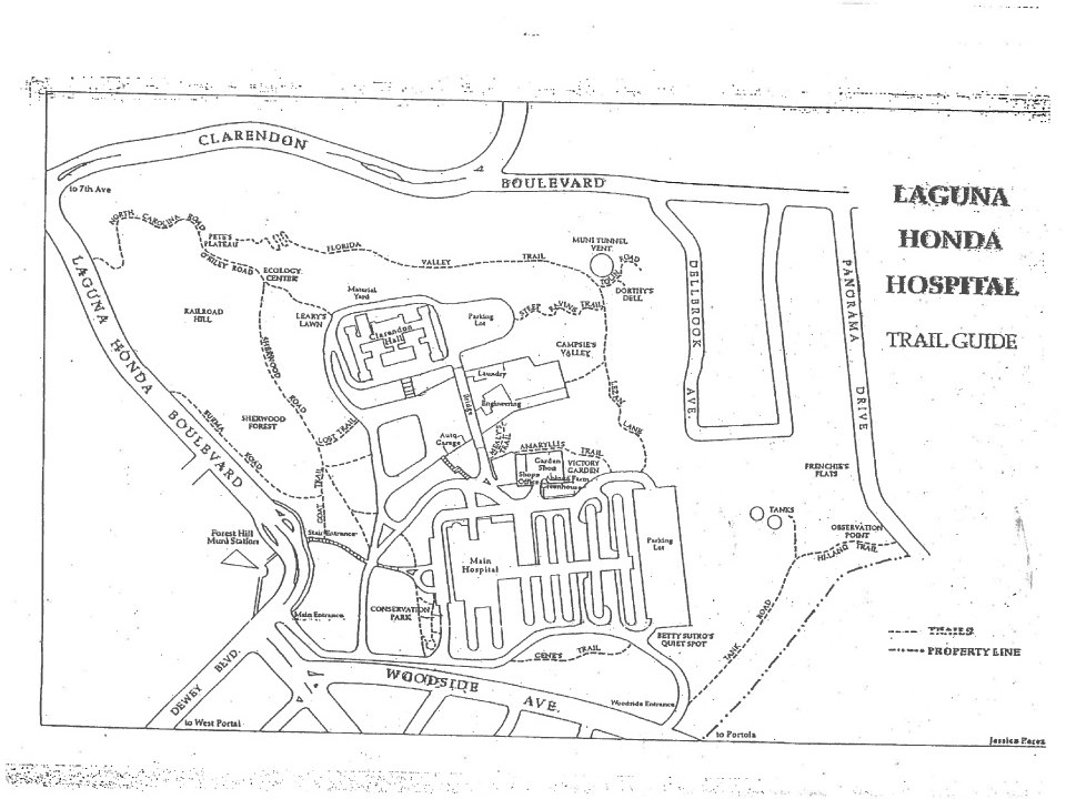A historic trail guide maps the old paths across Laguna Honda's campus