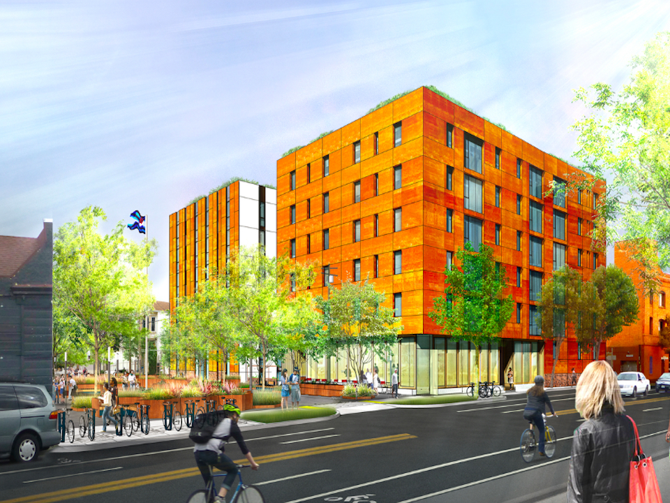 The new mixed-use development at 1532 Harrison St. will overlook Eagle Plaza.