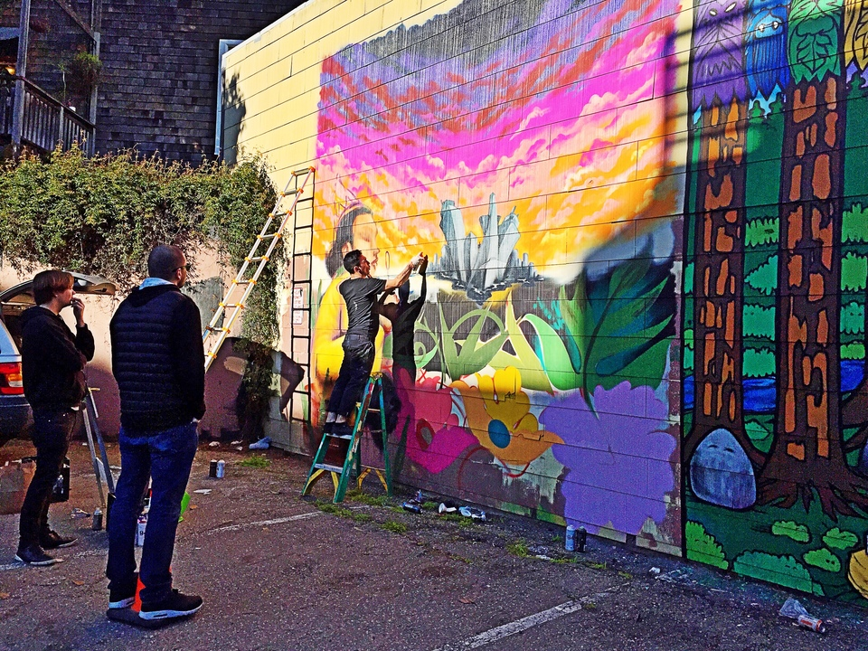 New trick dog mural going up in castro for cover of san for Creating a mural