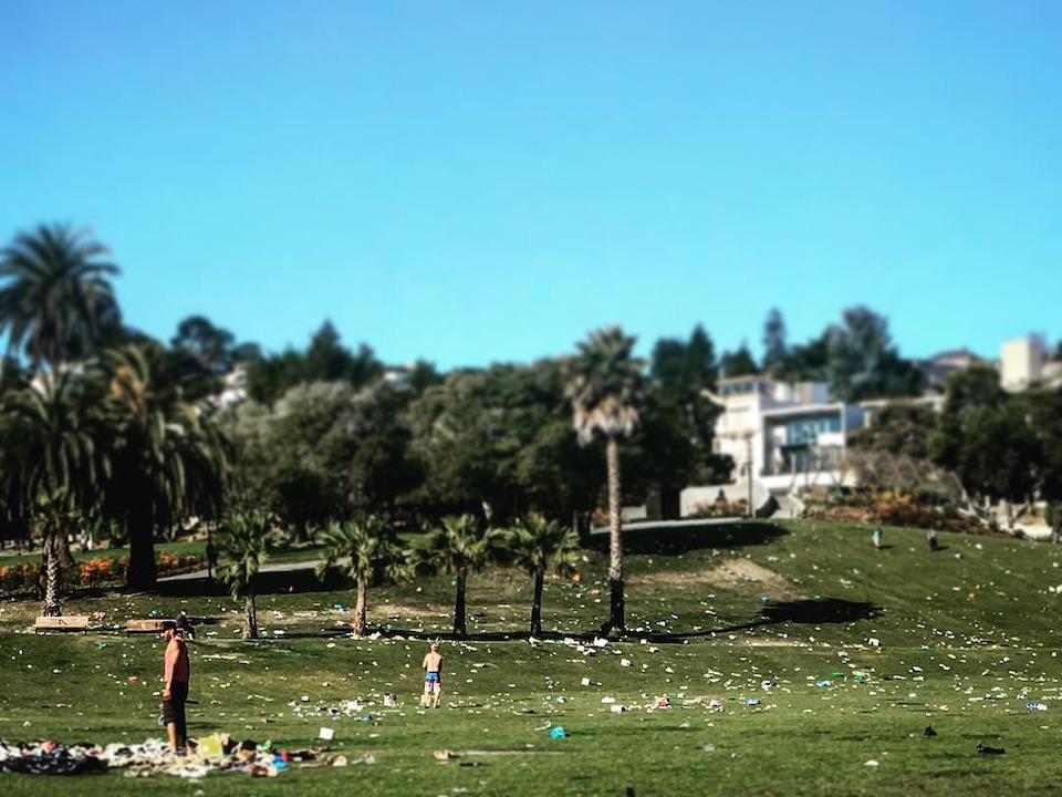 Dolores park trash