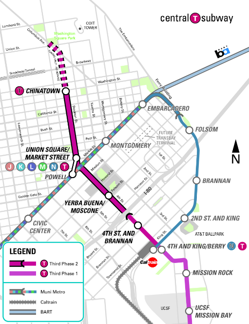 Despite Central Subway Delays Muni Studies Plan To Extend T Third