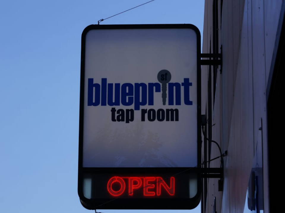 Blueprint tap room sign