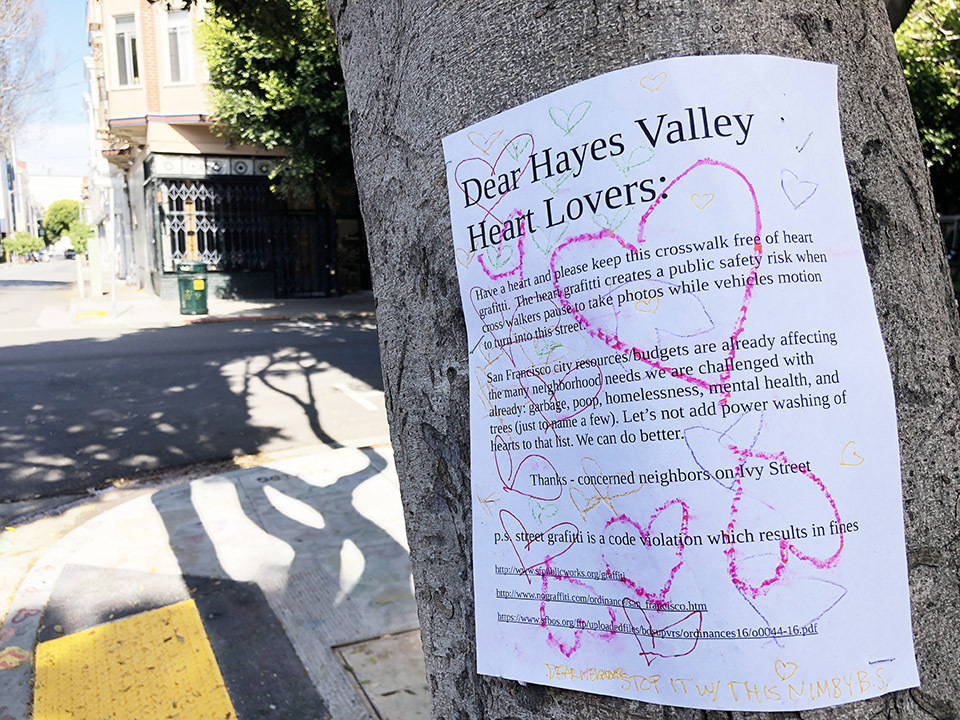 A note placed on a tree on the corner of Ivy and Octavia streets.
