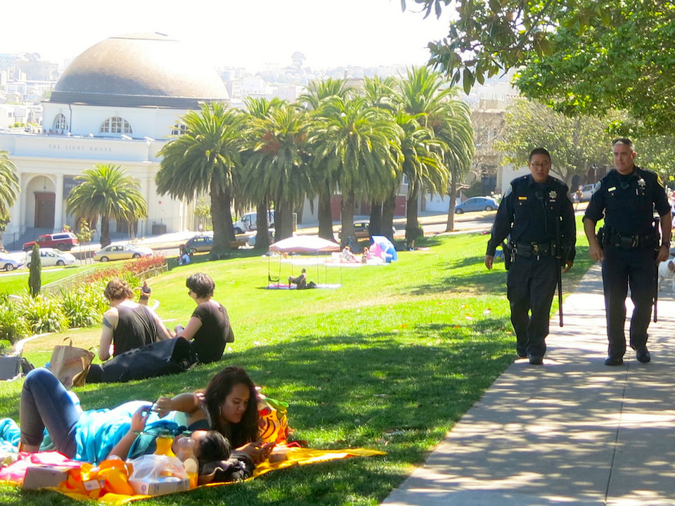 Police patrolling dolores park