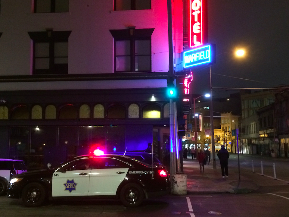 Cops at hotel warfield