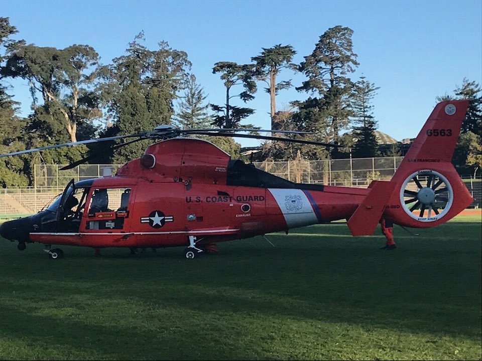 Coast Guard Helicopter Makes Emergency Landing In Golden Gate Park