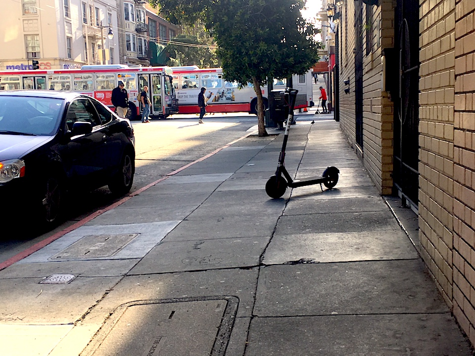 Scooter on post st