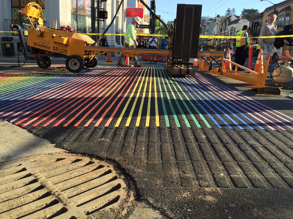 Rainbow crosswalk castro