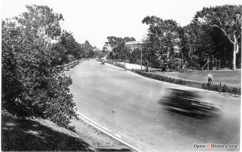 Kezar Drive around 1928, the year it was constructed, with the field and Kezar Stadium on the right.